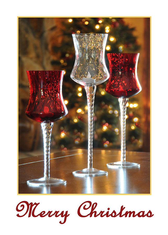 Greeting Card Photograph - Christmas Glass Candle Holders by Geraldine Alexander