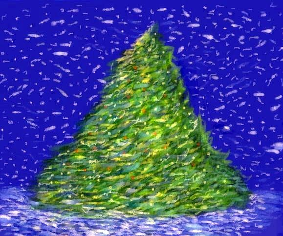 Christmas Painting - Christmas Greens In Blue by Ronald Johnson