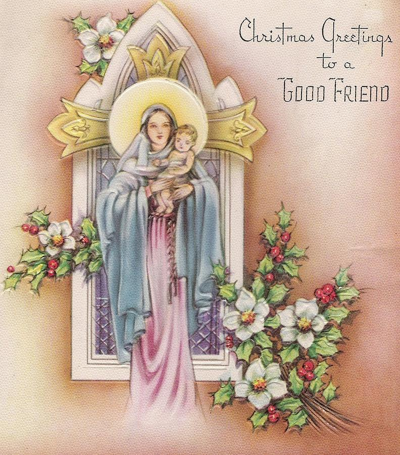 Christmas Greeting Cards.Christmas Greeting Card 38 Mother Mary And Infant Jesus