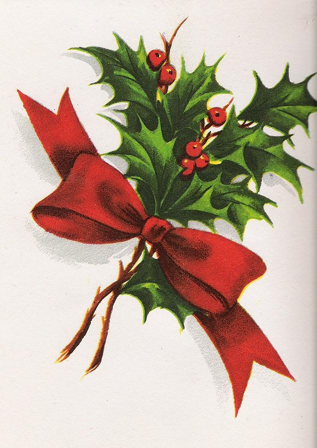 Christmas Greeting Card 45 Mistletoe Bouquet Painting By Tuscan