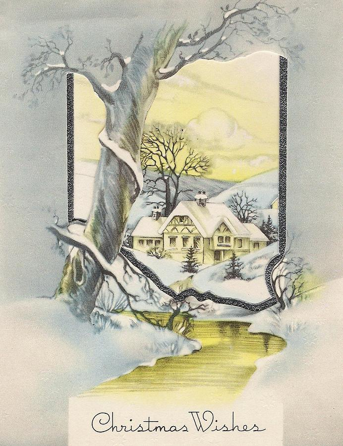 Mountain Christmas Cards.Christmas Greetings 1081 Vintage Christmas Cards Snowy Cottage By Tuscan Afternoon