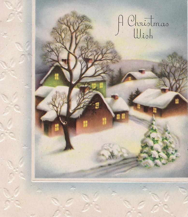 Christmas Greetings 1111 - Vintage Christmas Cards - Snowy Village ...