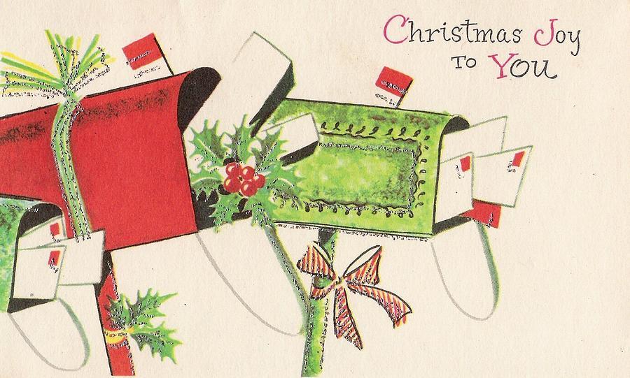 mistletoe painting christmas greetings 1223 vintage christmas cards greeting cards in mail box