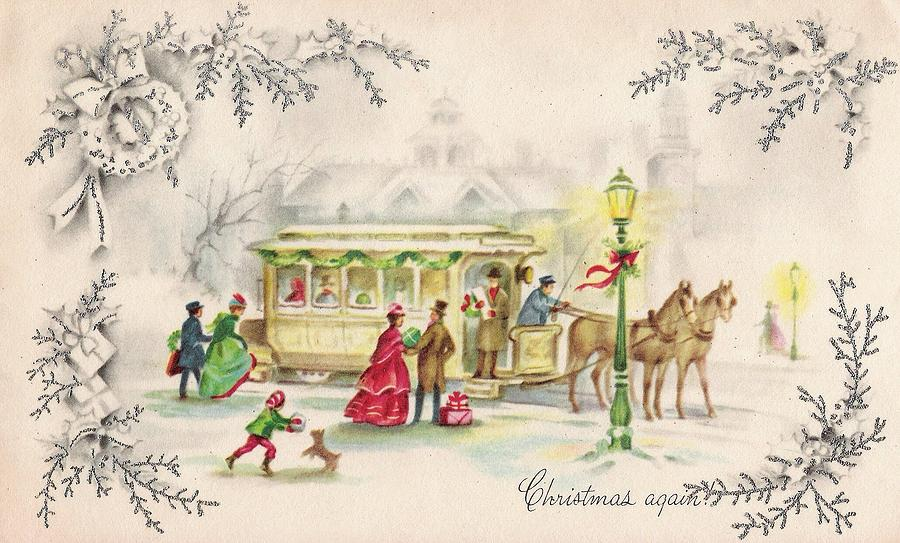 Christmas Greetings 1266 - Vintage Christmas Cards - Horse Drawn ...