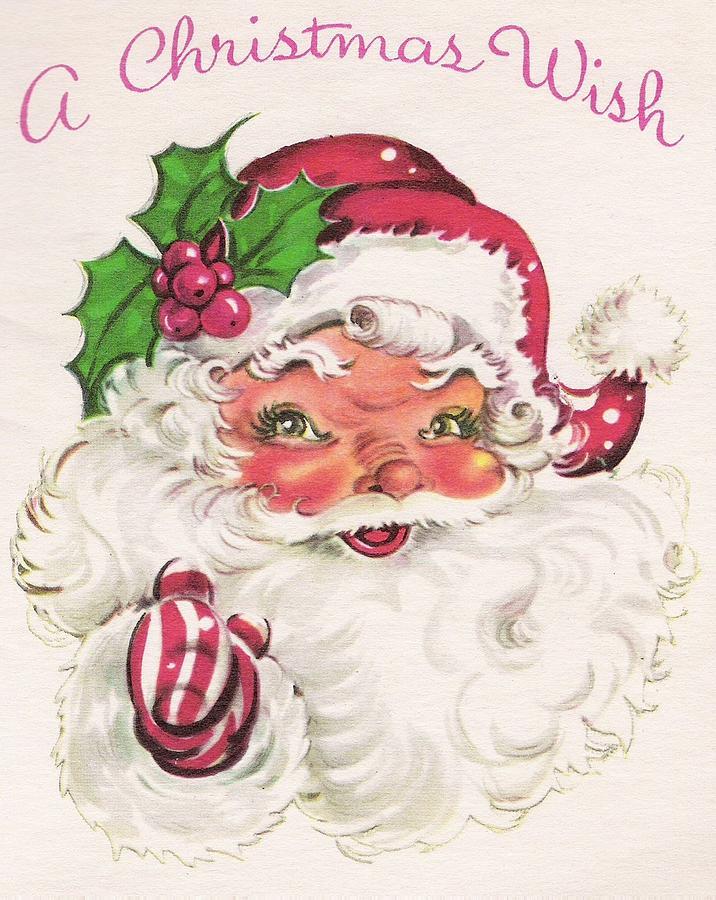 Christmas Greetings 1305 - Vintage Christmas Cards - Santa Claus ...