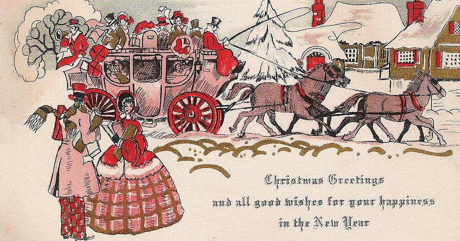 Horse Drawn Carriage Painting - Christmas Greetings 199 - Horse Drawn Carriage by TUSCAN Afternoon