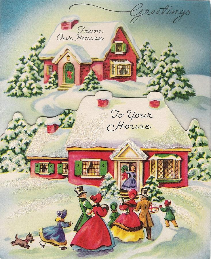 Christmas Greetings 356 Vintage Christmas Cards From Our House To Yours Painting By Tuscan Afternoon