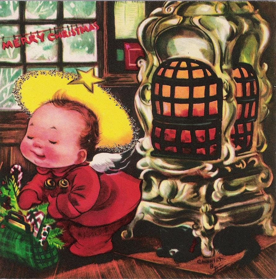 Christmas greetings 363 cute baby with hat painting by tuscan cute baby painting christmas greetings 363 cute baby with hat by tuscan afternoon m4hsunfo