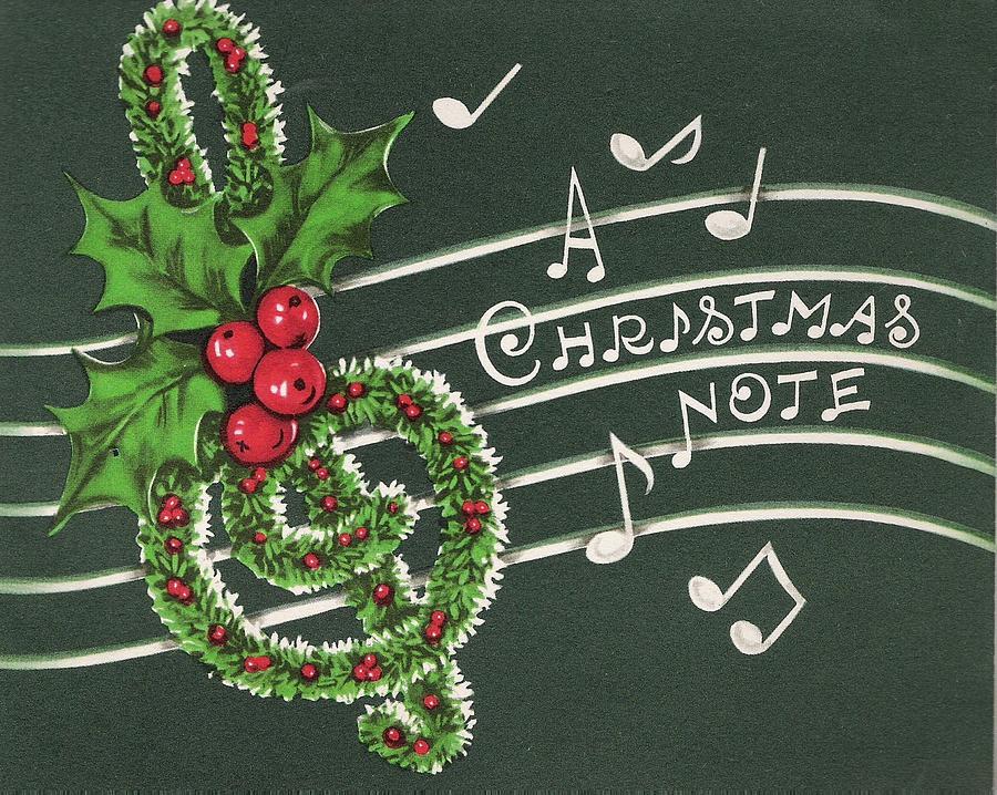 Christmas greetings 375 vintage christmas cards mistletoe mistletoe painting christmas greetings 375 vintage christmas cards mistletoe musical notes by m4hsunfo