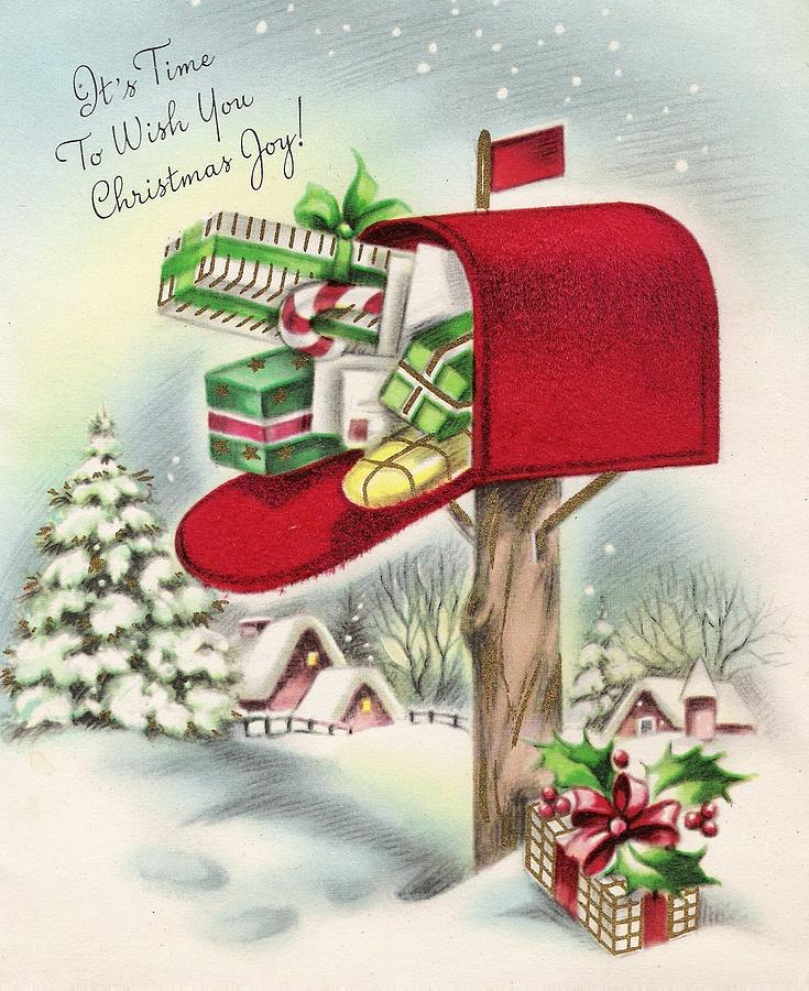 Christmas Greetings 451 - Gifts Inside The Mail Box Painting by ...