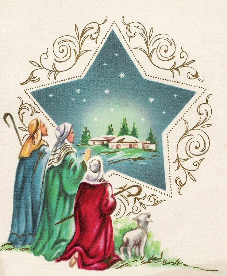 Christmas greetings 478 shepherds and a little lamb watching shepherds painting christmas greetings 478 shepherds and a little lamb watching christmas stars by m4hsunfo