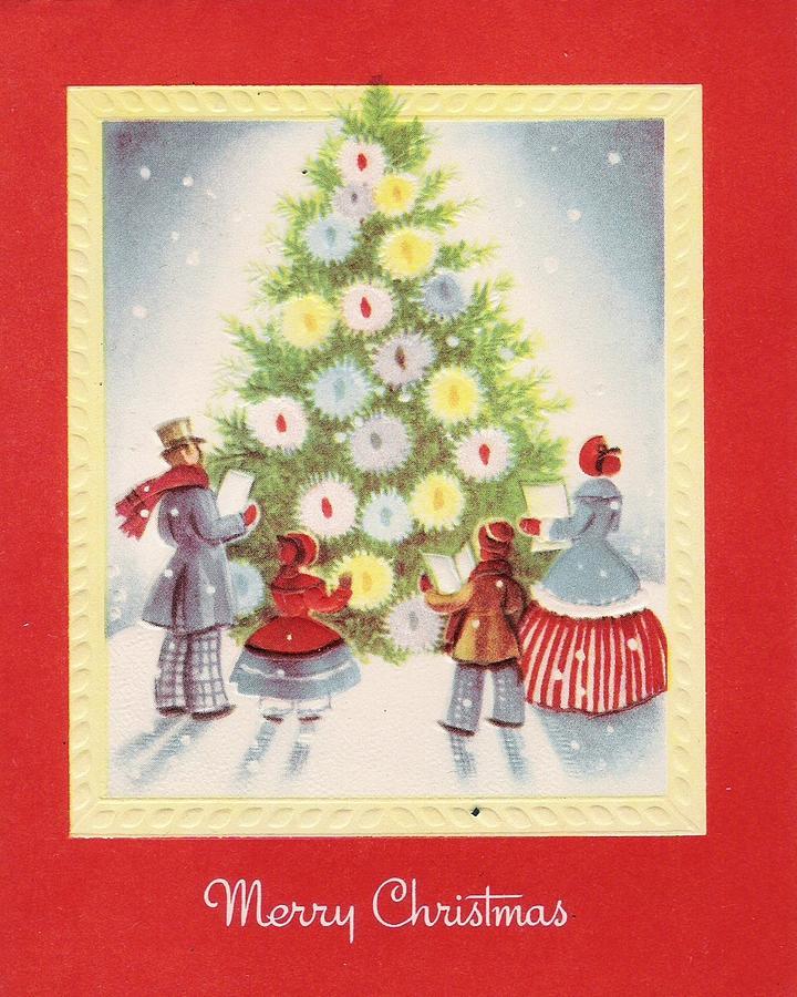 Christmas Greetings 498 - Family Noel Singing In Front Of Christmas ...
