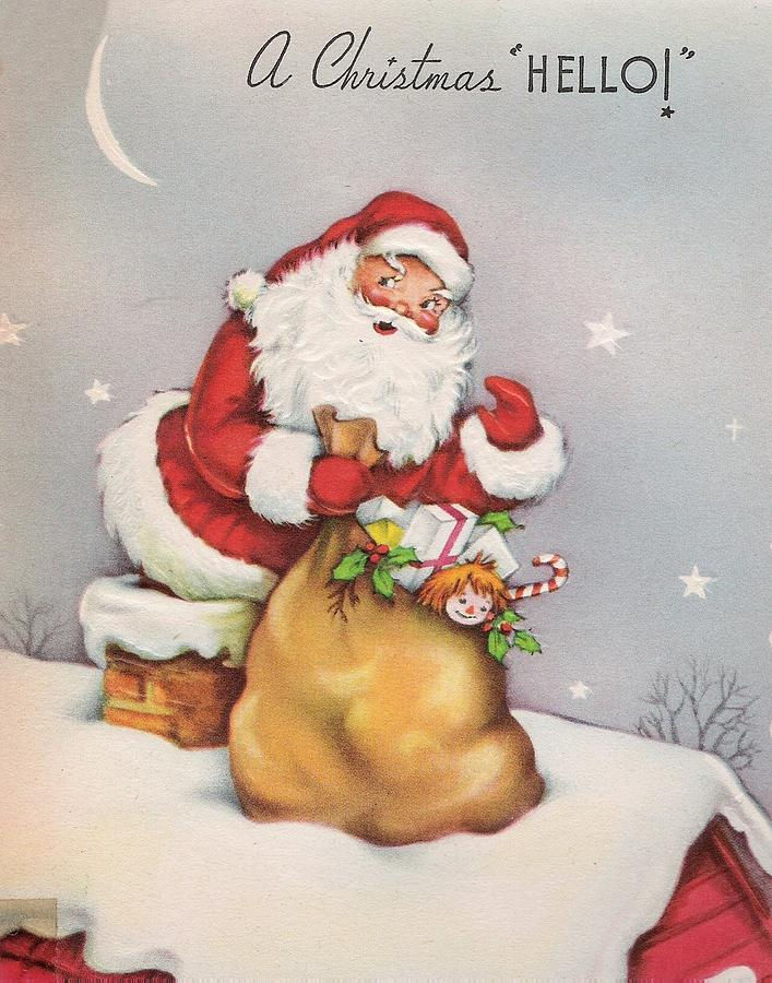 Christmas Greetings 671 - Vintage Christmas Cards - Santa Claus With ...
