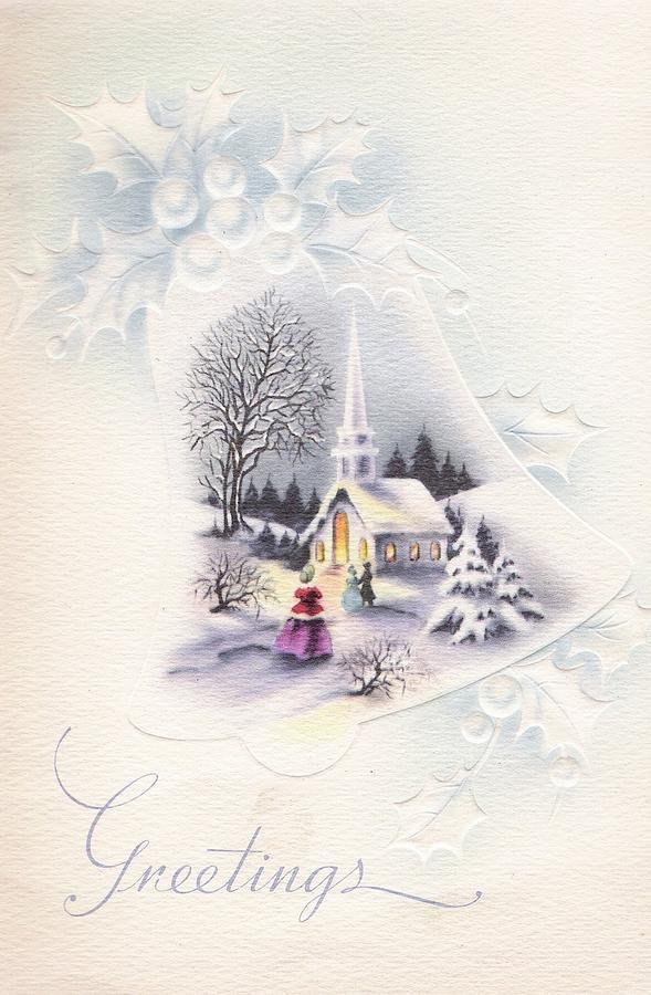 Christmas Greetings 672 - Vintage Christmas Cards - Christmas Church ...