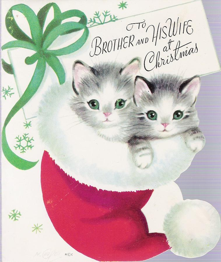Kitten Christmas Cards.Christmas Greetings 685 Vintage Christmas Cards Cute Kitten Inside A Christmas Hat