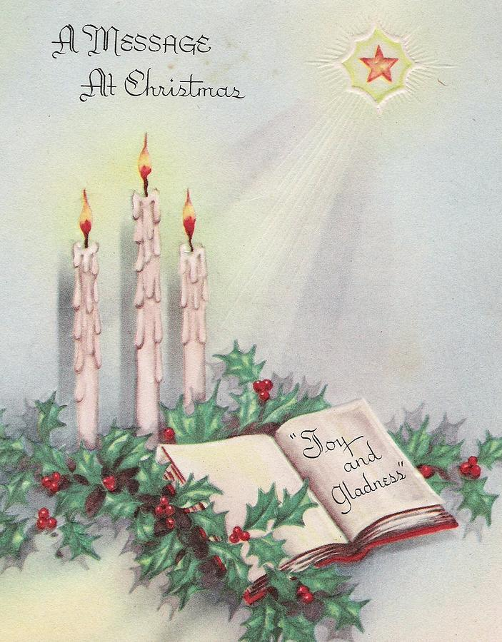 Vintage Christmas Candles.Christmas Greetings 806 Vintage Christmas Cards Christmas Candles And Mistletoe