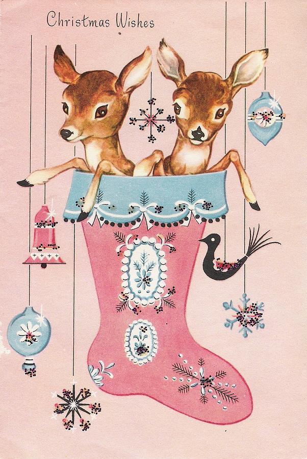 christmas Greetings 851 - Vintage Christmas cards - reindeer on ...