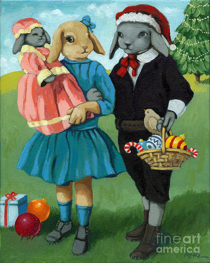 Rabbits Painting - Christmas Greetings From Appletree Hollow - Animal Art by Linda Apple