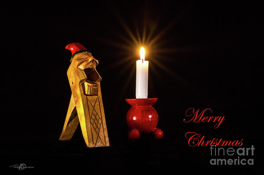 Christmas Greetings In English On A Norwegian Gnome Nutcracker Photograph