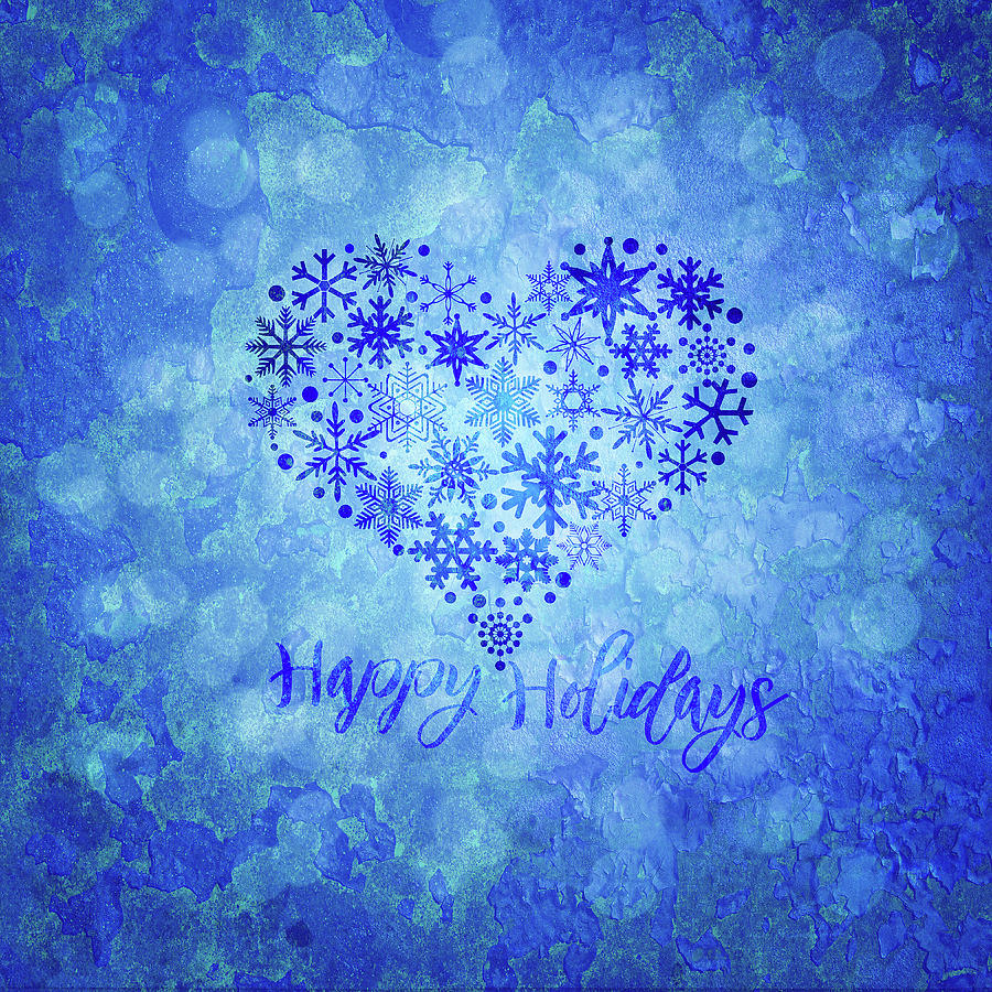Christmas Happy Holidays Snowflakes Heart Shape Illustration by Jit Lim