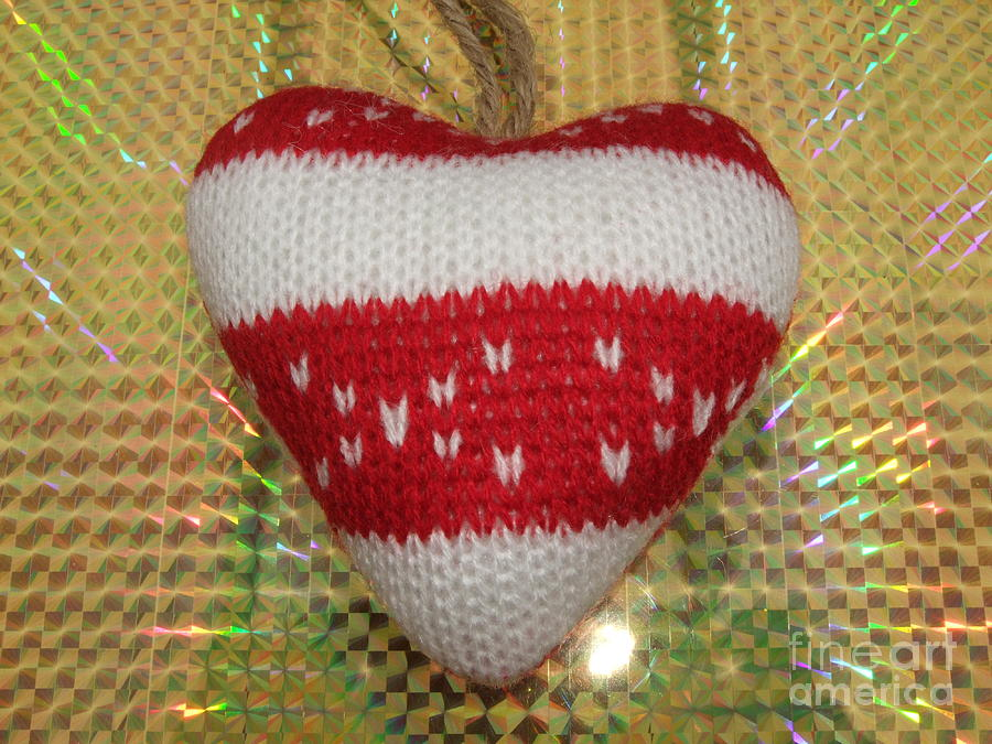 Red Photograph - Christmas Heart by Deborah Brewer