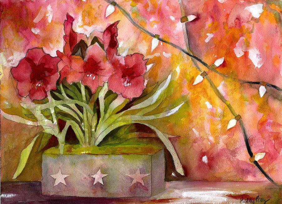 Amaryllis Painting - Christmas Holiday Amaryllis by Kelly Perez