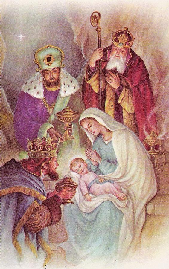 Christmas Illustration 1090 - Vintage Christmas Cards - Mother Mary ...