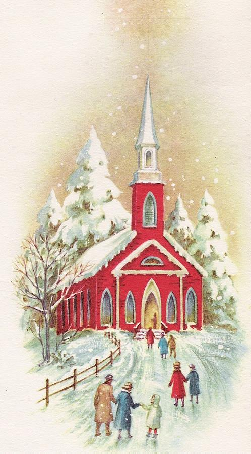 Vintage Christmas.Christmas Illustration 1098 Vintage Christmas Cards Snowy Church