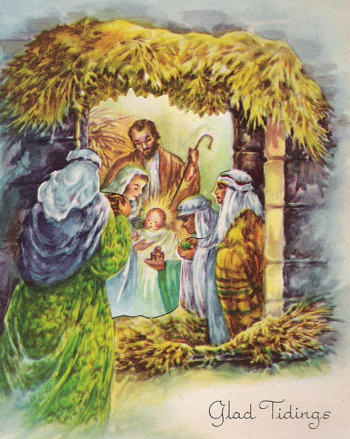 Christmas Illustration 1115 - Vintage Christmas Cards - Nativity ...