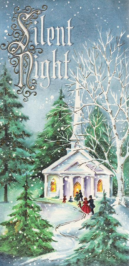 Christmas Illustration 1134 - Vintage Christmas Cards - Silent Night -  Church 8b4079703