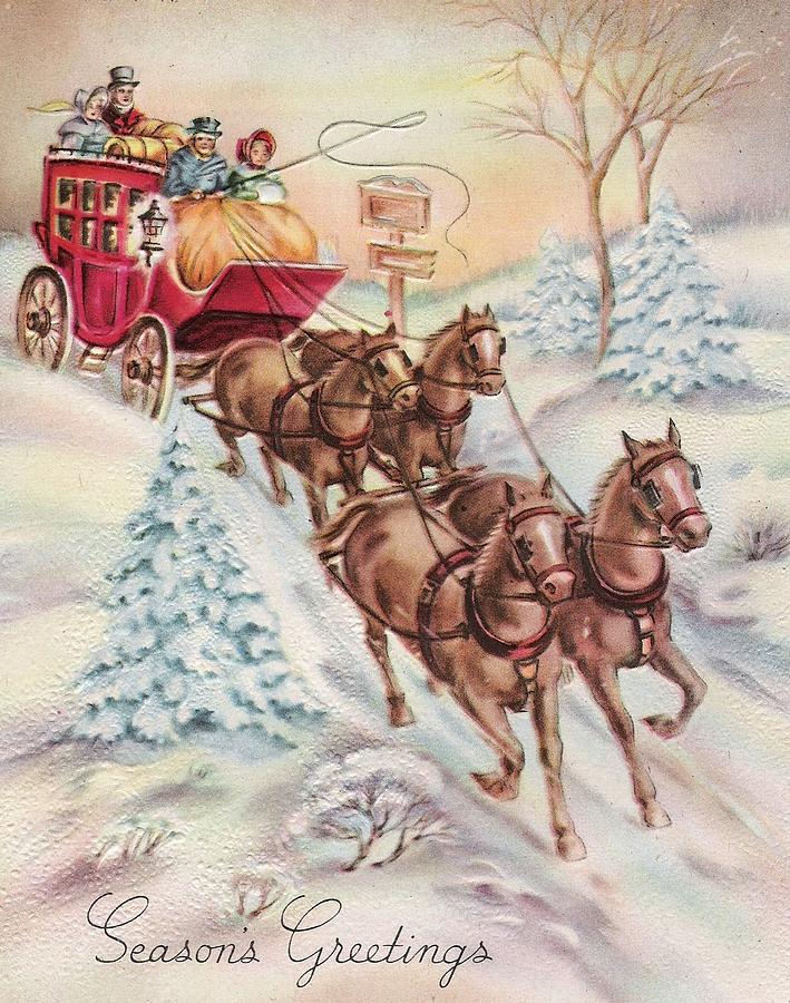 Christmas Illustration 1142 - Vintage Christmas Cards - Horse Drawn ...