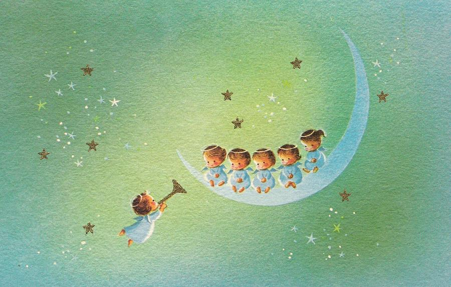 Angels Christmas Cards.Christmas Illustration 1182 Vintage Christmas Cards Baby Angels On Moon