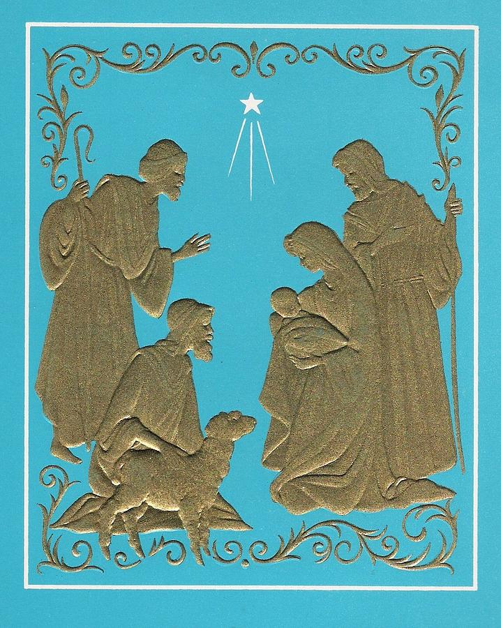 Christmas Illustration 1227 - Vintage Christmas Cards - Mother Mary ...