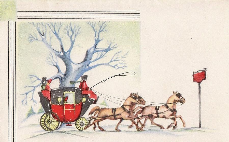 Christmas Illustration 1298 - Vintage Christmas Cards - Horse Drawn ...