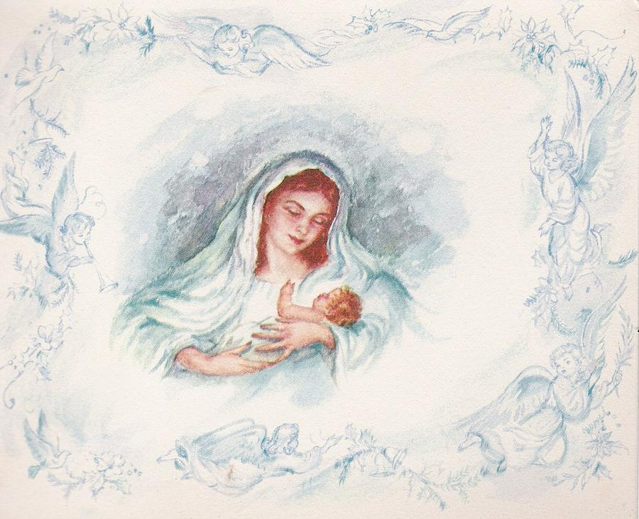 Christmas Illustration 1303 - Vintage Christmas Cards - Mother Mary ...