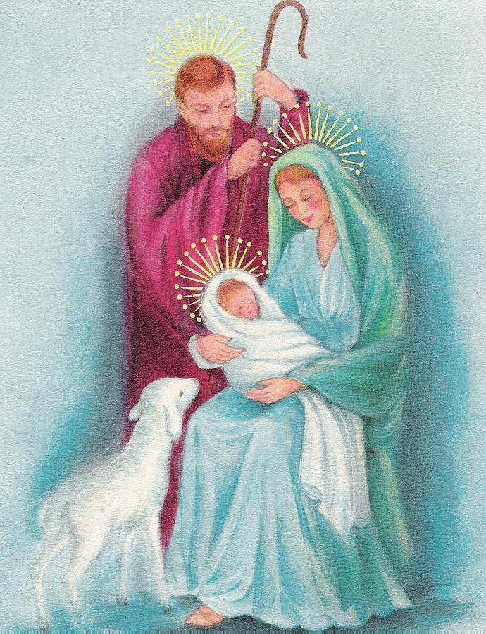 Christmas Illustration 1317 - Vintage Christmas Cards - Mother Mary ...
