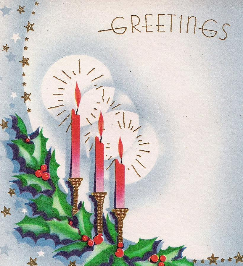 Christmas Illustration 1379 , Vintage Christmas Cards , Christmas Candles  by TUSCAN Afternoon