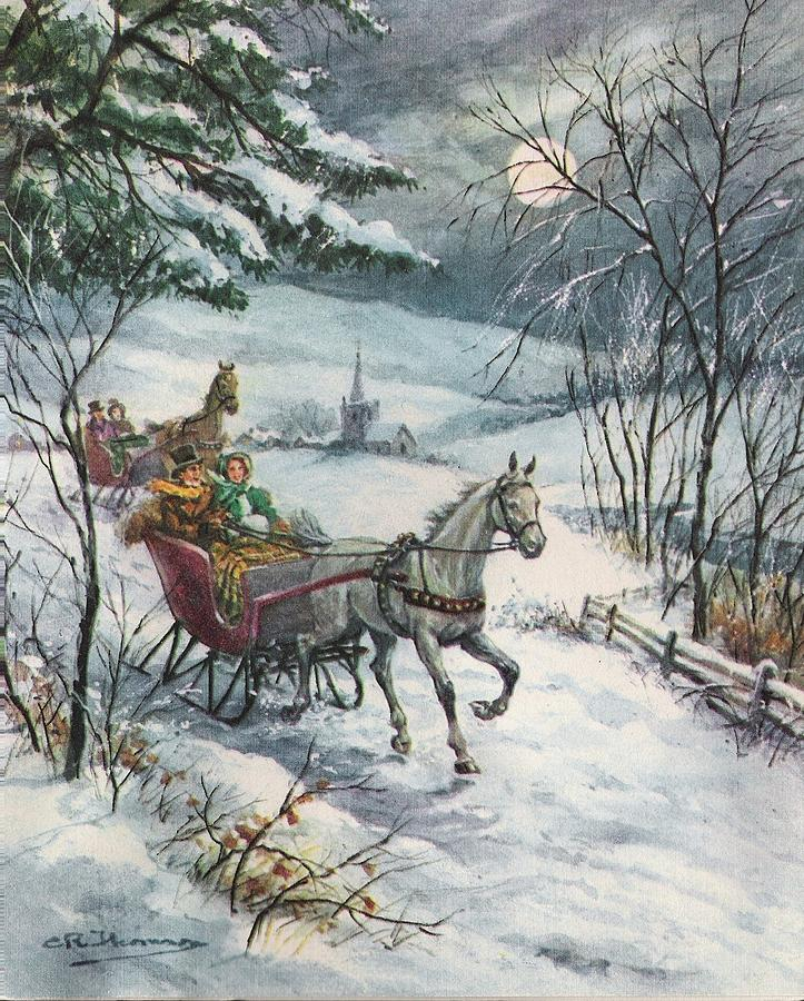 Christmas Horse Pictures.Christmas Illustration 275 Horse Drawn Carriage On Snowy Road