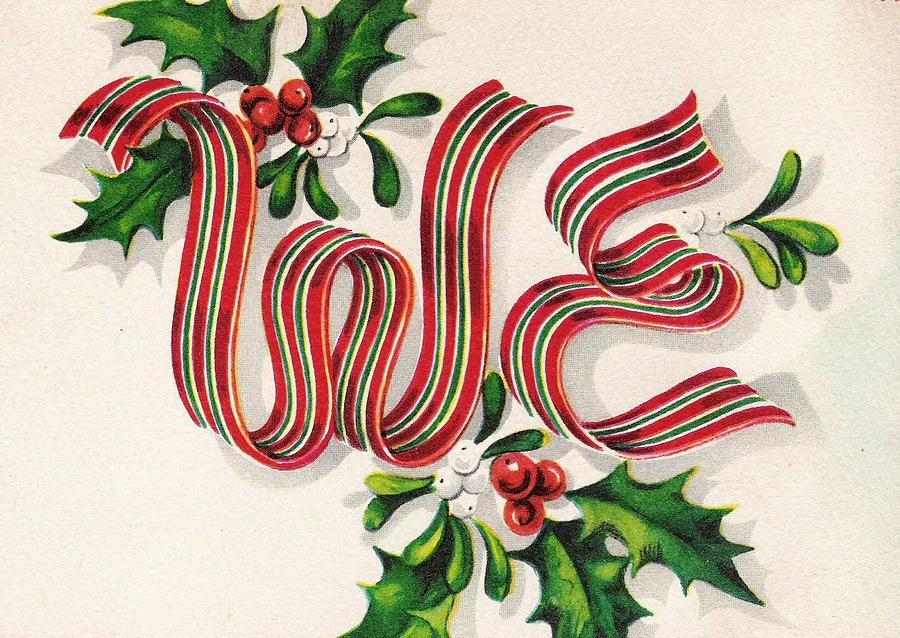 Christmas Illustration 47 Christmas Ribbons With Mistletoe