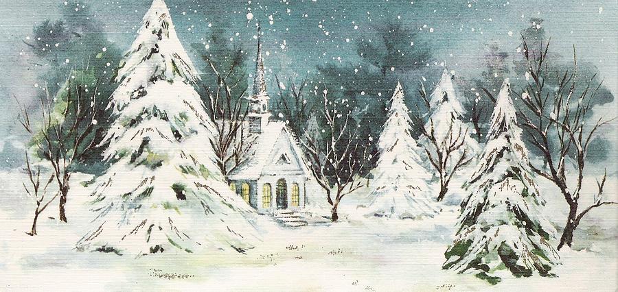 Snowy Christmas.Christmas Illustration 61 Church And Snowy Christmas Trees