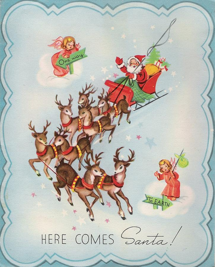 Christmas Illustration 660 - Vintage Christmas Cards - Santa Claus ...