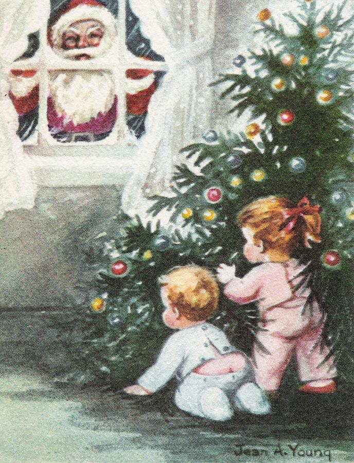 Vintage Christmas.Christmas Illustration 667 Vintage Christmas Cards Santa Claus And Little Kids