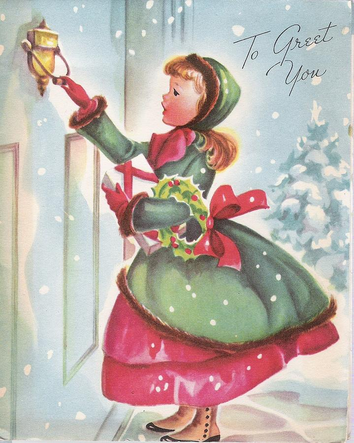 Vintage Christmas Illustrations.Christmas Illustration 670 Vintage Christmas Cards Little Girl In Red And Green