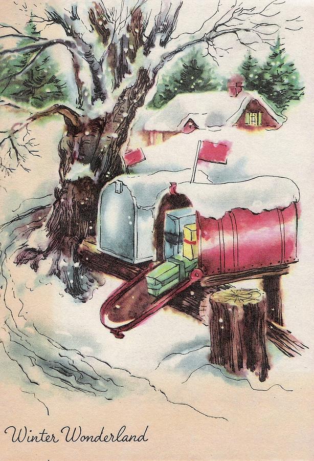 Christmas Gifts Painting - Christmas Illustration 681 - Vintage Christmas Cards - Christmas Gifts In Mailbox & Christmas Illustration 681 - Vintage Christmas Cards - Christmas Gifts ...