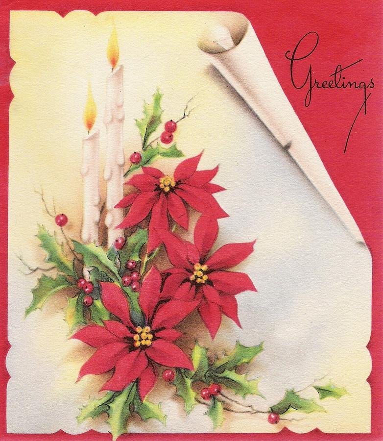 Christmas Illustration 694 , Vintage Christmas Cards , Christmas Candles  And Red Flowers
