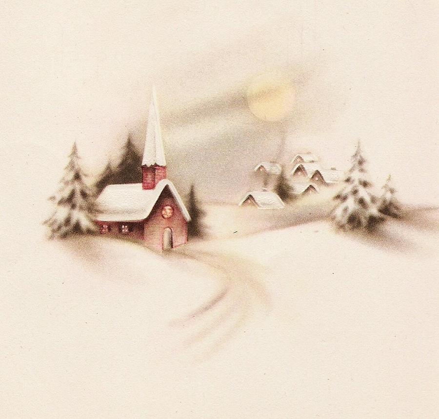 Christmas Illustrations Vintage.Christmas Illustration 702 Vintage Christmas Cards Snowy Church And Village