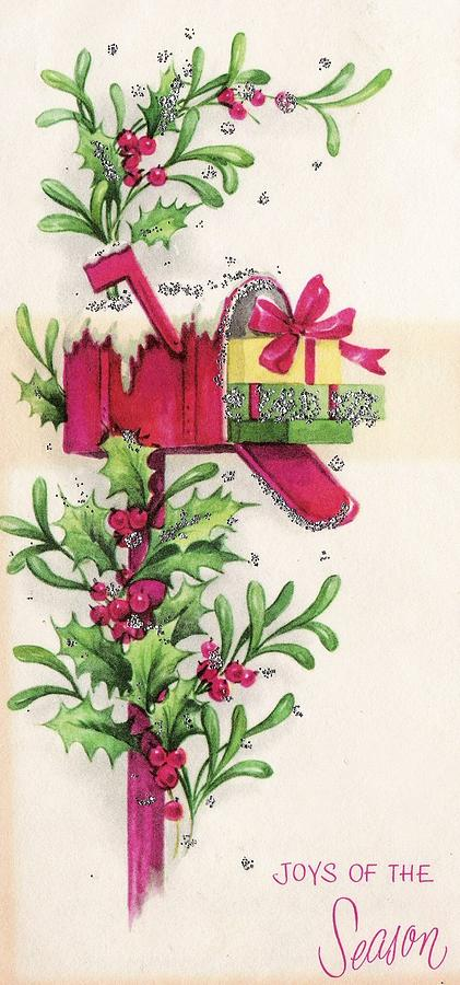 christmas gifts painting christmas illustration 726 vintage christmas cards gifts in mail box - Vintage Christmas Gifts