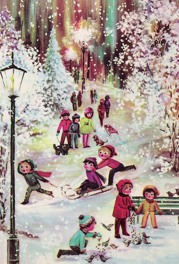 Vintage Christmas.Christmas Illustration 756 Vintage Christmas Cards Christmas Celebration By Kids