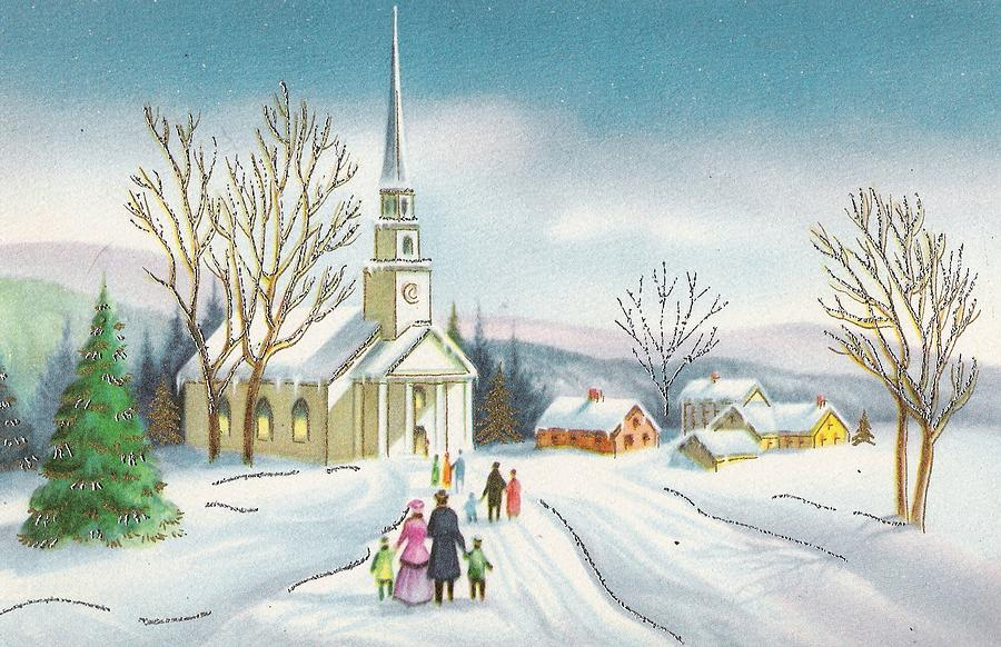 Vintage Christmas Illustrations.Christmas Illustration 798 Vintage Christmas Cards Snowy Church