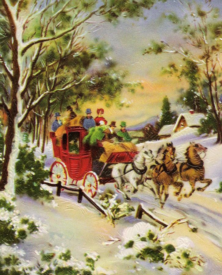 Christmas Illustration 812 - Vintage Christmas Cards - Horse Drawn ...